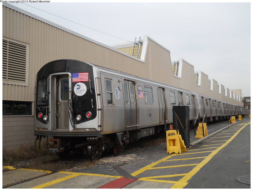 (243k, 1044x788)<br><b>Country:</b> United States<br><b>City:</b> New York<br><b>System:</b> New York City Transit<br><b>Location:</b> Coney Island Yard<br><b>Car:</b> R-160A-2 (Alstom, 2005-2008, 5 car sets)  8682 <br><b>Photo by:</b> Robert Mencher<br><b>Date:</b> 10/20/2010<br><b>Viewed (this week/total):</b> 1 / 389