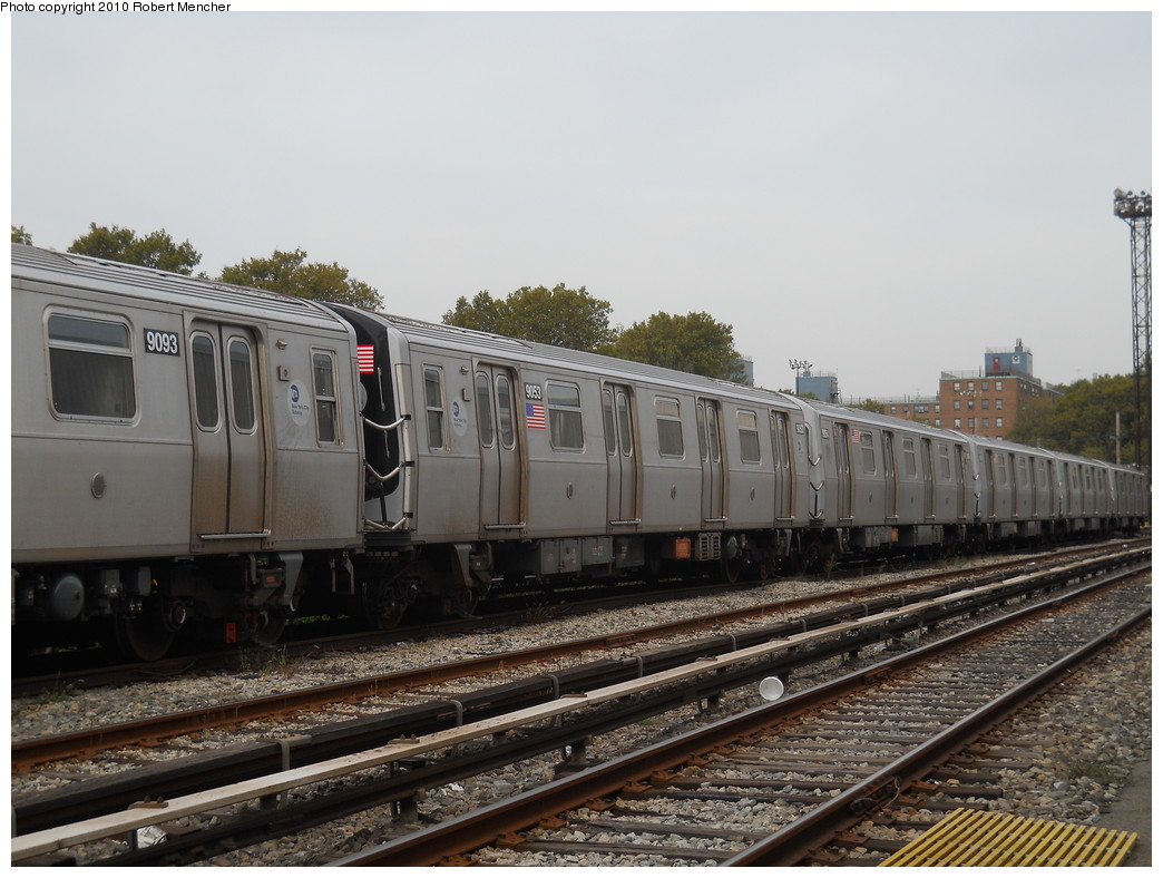 (261k, 1044x788)<br><b>Country:</b> United States<br><b>City:</b> New York<br><b>System:</b> New York City Transit<br><b>Location:</b> Coney Island Yard<br><b>Car:</b> R-160B (Option 1) (Kawasaki, 2008-2009)  9053 <br><b>Photo by:</b> Robert Mencher<br><b>Date:</b> 10/20/2010<br><b>Viewed (this week/total):</b> 2 / 423