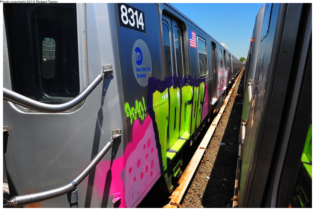(252k, 1044x701)<br><b>Country:</b> United States<br><b>City:</b> New York<br><b>System:</b> New York City Transit<br><b>Location:</b> Rockaway Parkway (Canarsie) Yard<br><b>Car:</b> R-143 (Kawasaki, 2001-2002) 8314 <br><b>Photo by:</b> Robert Taylor<br><b>Date:</b> 5/20/2010<br><b>Viewed (this week/total):</b> 0 / 9352