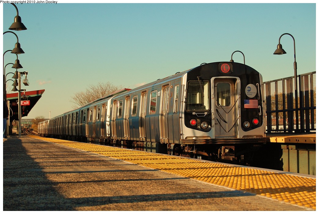 (257k, 1044x701)<br><b>Country:</b> United States<br><b>City:</b> New York<br><b>System:</b> New York City Transit<br><b>Line:</b> BMT Canarsie Line<br><b>Location:</b> Sutter Avenue <br><b>Route:</b> L<br><b>Car:</b> R-143 (Kawasaki, 2001-2002) 8137 <br><b>Photo by:</b> John Dooley<br><b>Date:</b> 10/28/2010<br><b>Viewed (this week/total):</b> 2 / 304