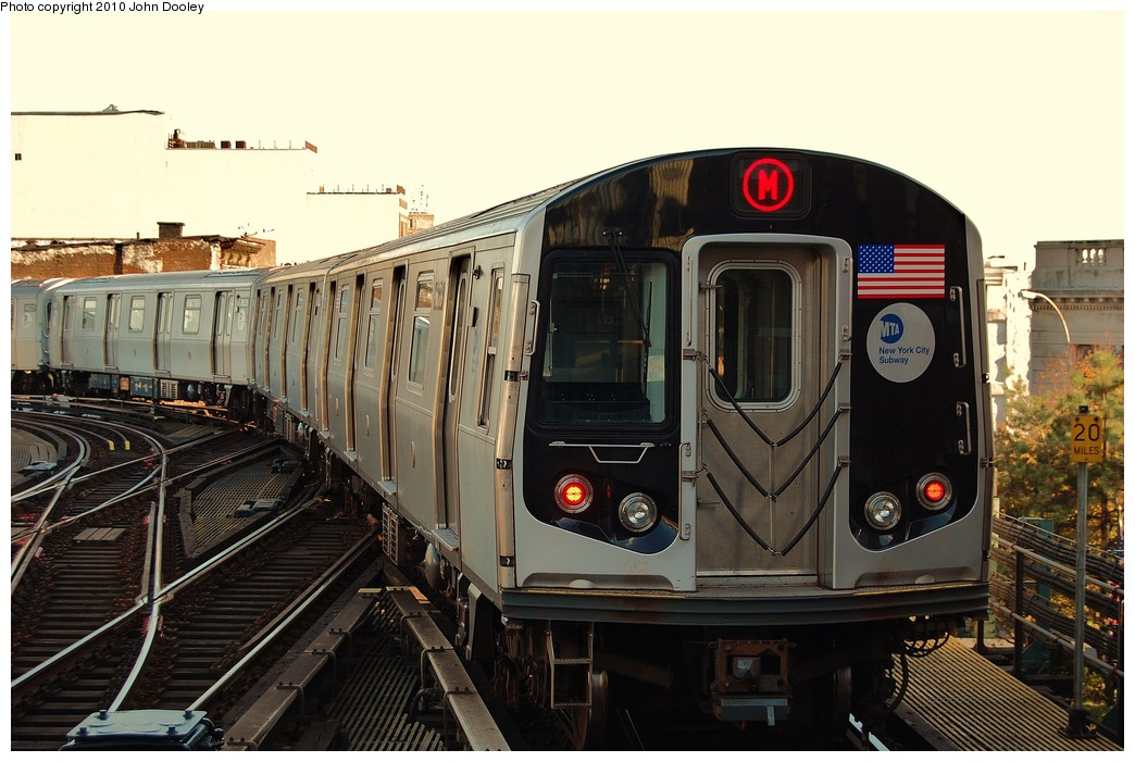 (228k, 1044x701)<br><b>Country:</b> United States<br><b>City:</b> New York<br><b>System:</b> New York City Transit<br><b>Line:</b> BMT Nassau Street/Jamaica Line<br><b>Location:</b> Myrtle Avenue <br><b>Route:</b> M<br><b>Car:</b> R-160A-1 (Alstom, 2005-2008, 4 car sets)  8628 <br><b>Photo by:</b> John Dooley<br><b>Date:</b> 10/28/2010<br><b>Viewed (this week/total):</b> 0 / 771