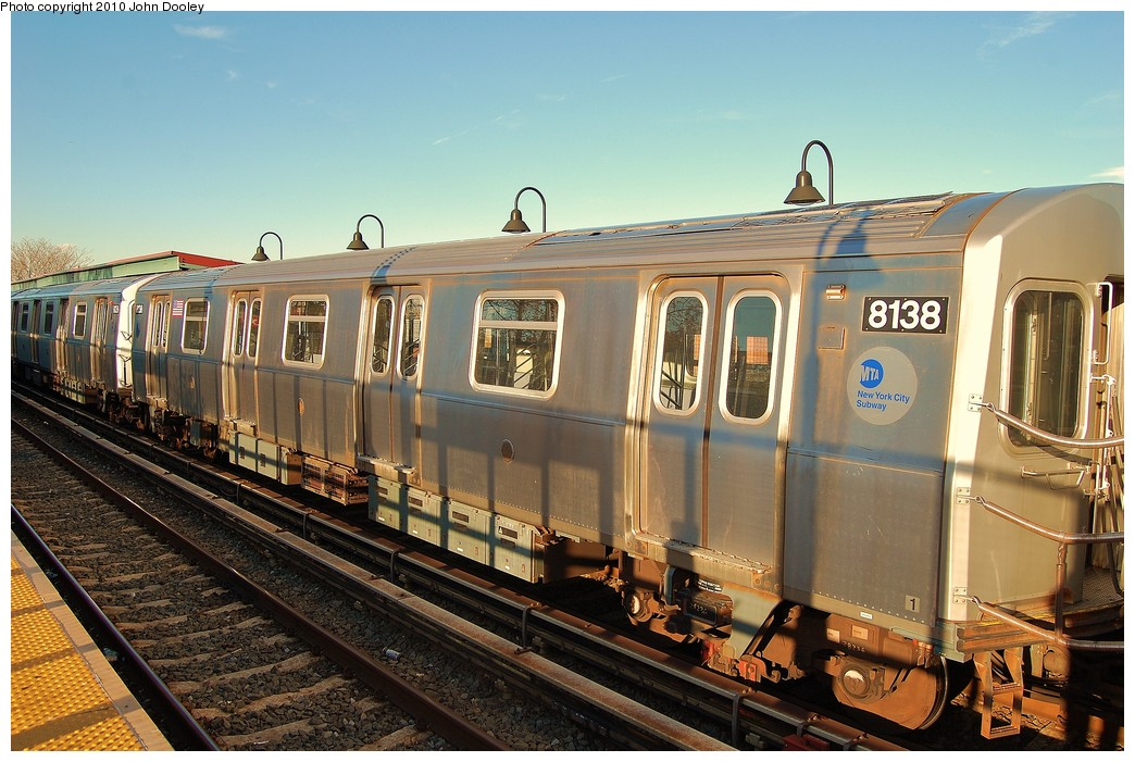 (257k, 1044x701)<br><b>Country:</b> United States<br><b>City:</b> New York<br><b>System:</b> New York City Transit<br><b>Line:</b> BMT Canarsie Line<br><b>Location:</b> New Lots Avenue <br><b>Route:</b> L<br><b>Car:</b> R-143 (Kawasaki, 2001-2002) 8138 <br><b>Photo by:</b> John Dooley<br><b>Date:</b> 10/28/2010<br><b>Viewed (this week/total):</b> 2 / 804
