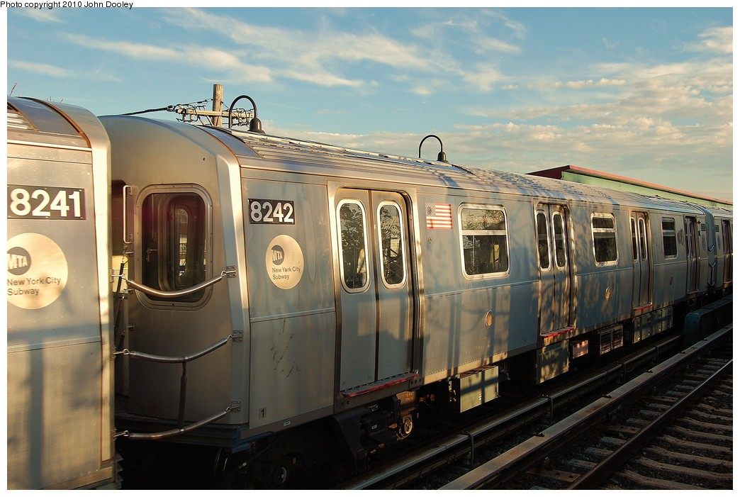 (226k, 1044x701)<br><b>Country:</b> United States<br><b>City:</b> New York<br><b>System:</b> New York City Transit<br><b>Line:</b> BMT Canarsie Line<br><b>Location:</b> New Lots Avenue <br><b>Route:</b> L<br><b>Car:</b> R-143 (Kawasaki, 2001-2002) 8242 <br><b>Photo by:</b> John Dooley<br><b>Date:</b> 10/28/2010<br><b>Viewed (this week/total):</b> 1 / 787