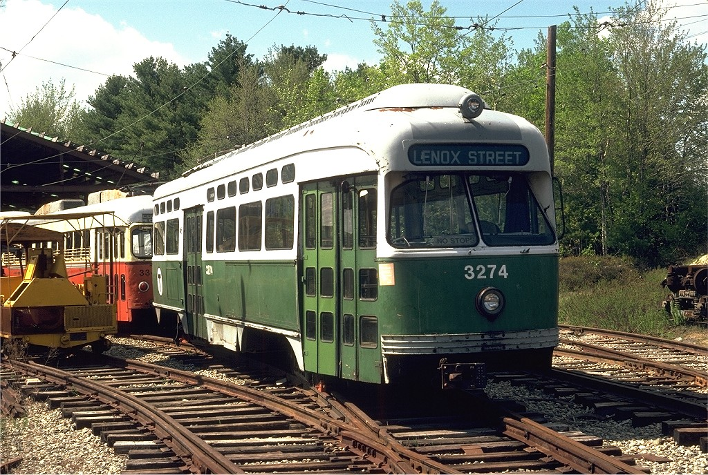 (319k, 1024x688)<br><b>Country:</b> United States<br><b>City:</b> Kennebunk, ME<br><b>System:</b> Seashore Trolley Museum <br><b>Car:</b> MBTA/BSRy PCC Post-War Picture Window (Pullman-Standard, 1951)  3274 <br><b>Photo by:</b> Doug Grotjahn<br><b>Collection of:</b> Joe Testagrose<br><b>Date:</b> 5/25/1980<br><b>Viewed (this week/total):</b> 0 / 431
