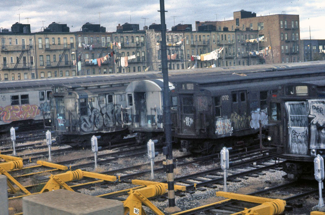(223k, 1050x694)<br><b>Country:</b> United States<br><b>City:</b> New York<br><b>System:</b> New York City Transit<br><b>Location:</b> Fresh Pond Yard<br><b>Car:</b> R-7 (American Car & Foundry, 1937)  1471 <br><b>Photo by:</b> Todd Glickman<br><b>Date:</b> 1976<br><b>Notes:</b> With 1772 and other R9 and R27/30 types.<br><b>Viewed (this week/total):</b> 2 / 905