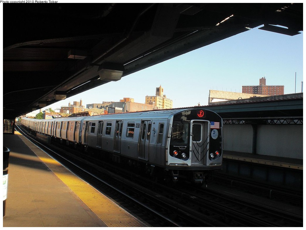 (202k, 1044x788)<br><b>Country:</b> United States<br><b>City:</b> New York<br><b>System:</b> New York City Transit<br><b>Line:</b> BMT Nassau Street/Jamaica Line<br><b>Location:</b> Flushing Avenue <br><b>Route:</b> Z<br><b>Car:</b> R-160A-1 (Alstom, 2005-2008, 4 car sets)  8621 <br><b>Photo by:</b> Roberto C. Tobar<br><b>Date:</b> 5/5/2010<br><b>Viewed (this week/total):</b> 2 / 360