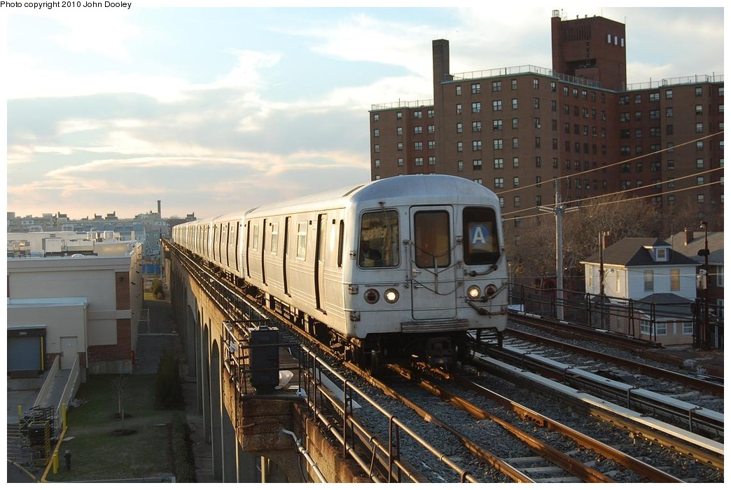 (225k, 1044x699)<br><b>Country:</b> United States<br><b>City:</b> New York<br><b>System:</b> New York City Transit<br><b>Line:</b> IND Rockaway<br><b>Location:</b> Beach 67th Street/Gaston Avenue <br><b>Route:</b> A<br><b>Car:</b> R-46 (Pullman-Standard, 1974-75)  <br><b>Photo by:</b> John Dooley<br><b>Date:</b> 11/29/2010<br><b>Viewed (this week/total):</b> 4 / 764