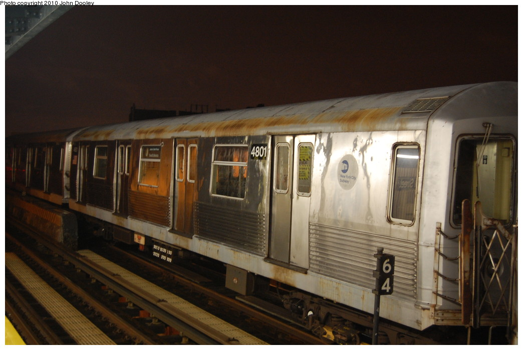 (220k, 1044x699)<br><b>Country:</b> United States<br><b>City:</b> New York<br><b>System:</b> New York City Transit<br><b>Line:</b> BMT Nassau Street/Jamaica Line<br><b>Location:</b> 111th Street <br><b>Route:</b> J layup<br><b>Car:</b> R-42 (St. Louis, 1969-1970)  4801 <br><b>Photo by:</b> John Dooley<br><b>Date:</b> 11/30/2010<br><b>Viewed (this week/total):</b> 6 / 627