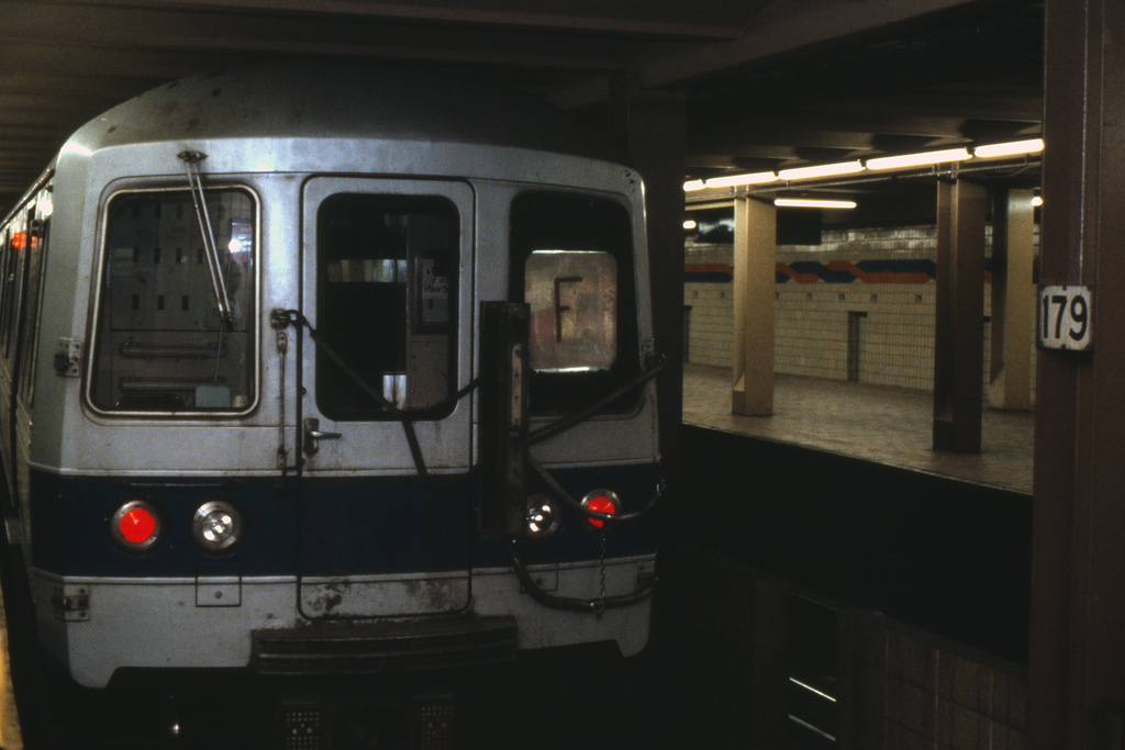 (217k, 1024x686)<br><b>Country:</b> United States<br><b>City:</b> New York<br><b>System:</b> New York City Transit<br><b>Line:</b> IND Queens Boulevard Line<br><b>Location:</b> 179th Street <br><b>Route:</b> F<br><b>Collection of:</b> Collection of nycsubway.org <br><b>Notes:</b> 1980s<br><b>Viewed (this week/total):</b> 4 / 1500