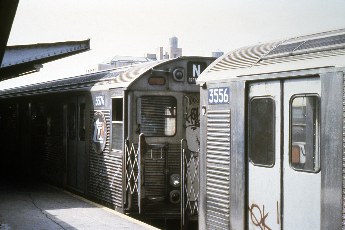 (224k, 1024x688)<br><b>Country:</b> United States<br><b>City:</b> New York<br><b>System:</b> New York City Transit<br><b>Location:</b> Coney Island/Stillwell Avenue<br><b>Route:</b> N<br><b>Car:</b> R-32 (Budd, 1964)  3374/3556 <br><b>Collection of:</b> Collection of nycsubway.org <br><b>Notes:</b> 1980s<br><b>Viewed (this week/total):</b> 3 / 1715