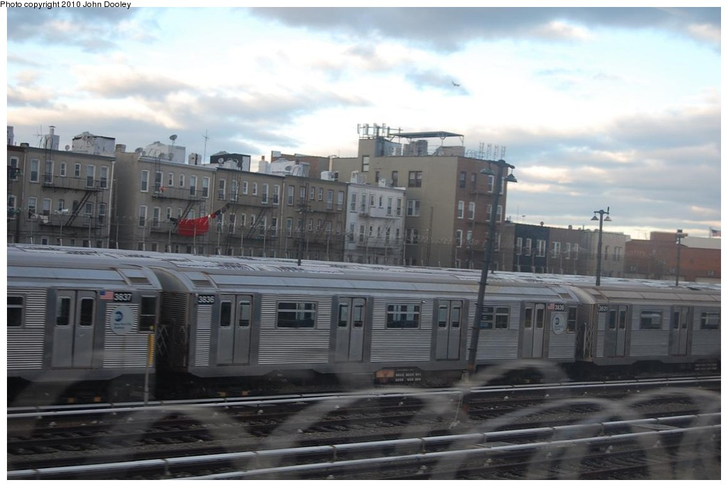 (179k, 1044x699)<br><b>Country:</b> United States<br><b>City:</b> New York<br><b>System:</b> New York City Transit<br><b>Location:</b> Fresh Pond Yard<br><b>Car:</b> R-32 (Budd, 1964)  3836 <br><b>Photo by:</b> John Dooley<br><b>Date:</b> 12/4/2010<br><b>Viewed (this week/total):</b> 0 / 655