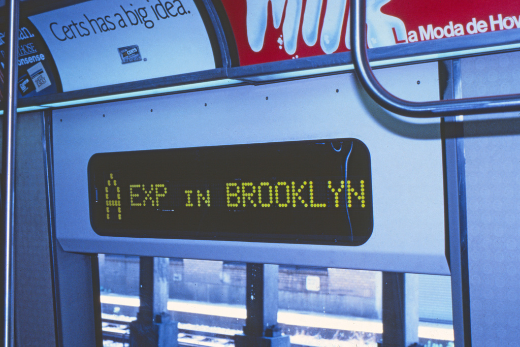 (215k, 1024x677)<br><b>Country:</b> United States<br><b>City:</b> New York<br><b>System:</b> New York City Transit<br><b>Location:</b> Pitkin Yard/Shops<br><b>Car:</b> R-44 (St. Louis, 1971-73)  <br><b>Collection of:</b> Collection of nycsubway.org <br><b>Notes:</b> Prototype digital sign-interior<br><b>Viewed (this week/total):</b> 0 / 1203