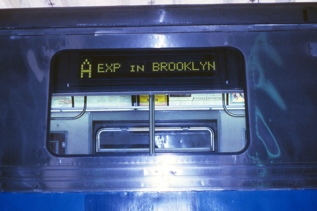 (224k, 1024x690)<br><b>Country:</b> United States<br><b>City:</b> New York<br><b>System:</b> New York City Transit<br><b>Location:</b> Pitkin Yard/Shops<br><b>Car:</b> R-44 (St. Louis, 1971-73)  <br><b>Collection of:</b> Collection of nycsubway.org <br><b>Notes:</b> Prototype digital sign-exterior<br><b>Viewed (this week/total):</b> 9 / 1615