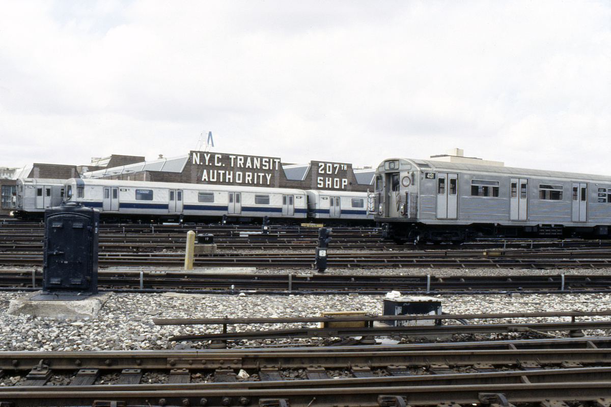(253k, 1024x688)<br><b>Country:</b> United States<br><b>City:</b> New York<br><b>System:</b> New York City Transit<br><b>Location:</b> 207th Street Yard<br><b>Car:</b> R-38 (St. Louis, 1966-1967)  4131 <br><b>Collection of:</b> Collection of nycsubway.org <br><b>Notes:</b> With R44 196<br><b>Viewed (this week/total):</b> 2 / 1149