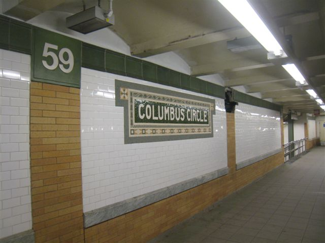 (45k, 640x480)<br><b>Country:</b> United States<br><b>City:</b> New York<br><b>System:</b> New York City Transit<br><b>Line:</b> IRT West Side Line<br><b>Location:</b> 59th Street/Columbus Circle <br><b>Photo by:</b> David Blair<br><b>Date:</b> 11/6/2010<br><b>Notes:</b> Southbound platform. Restored wall tile.<br><b>Viewed (this week/total):</b> 3 / 431
