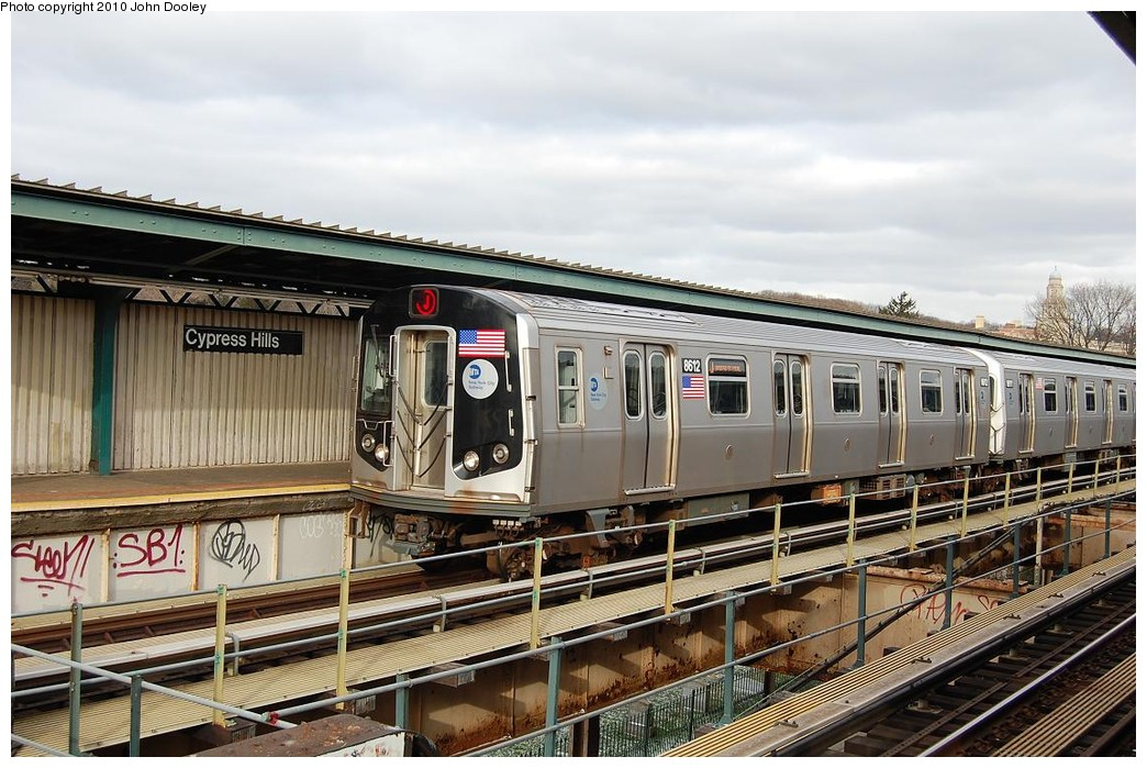 (249k, 1044x699)<br><b>Country:</b> United States<br><b>City:</b> New York<br><b>System:</b> New York City Transit<br><b>Line:</b> BMT Nassau Street/Jamaica Line<br><b>Location:</b> Cypress Hills <br><b>Route:</b> J<br><b>Car:</b> R-160A-1 (Alstom, 2005-2008, 4 car sets)  8612 <br><b>Photo by:</b> John Dooley<br><b>Date:</b> 12/14/2010<br><b>Viewed (this week/total):</b> 0 / 1132