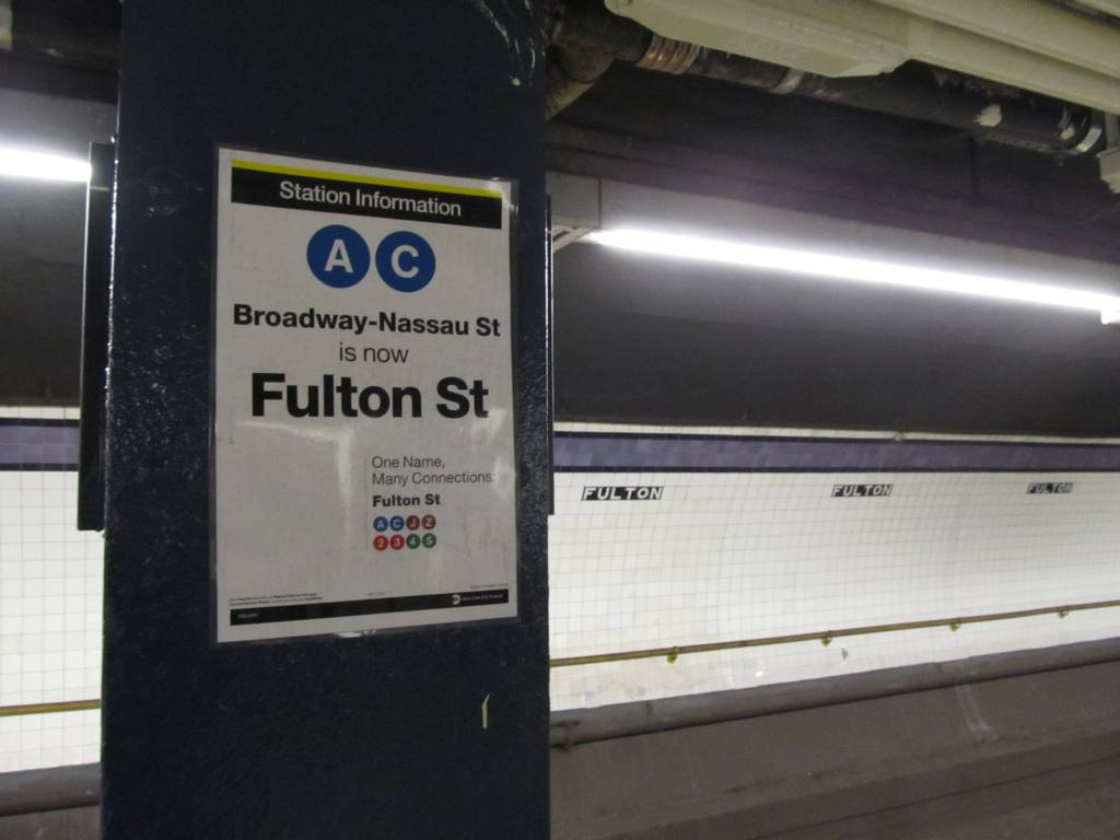 (71k, 1024x768)<br><b>Country:</b> United States<br><b>City:</b> New York<br><b>System:</b> New York City Transit<br><b>Line:</b> IND 8th Avenue Line<br><b>Location:</b> Fulton Street (Broadway/Nassau) <br><b>Photo by:</b> Robbie Rosenfeld<br><b>Date:</b> 12/10/2010<br><b>Notes:</b> New Fulton St tile names<br><b>Viewed (this week/total):</b> 1 / 1969