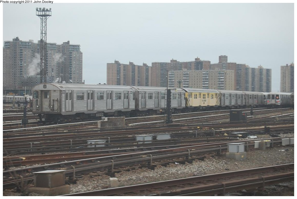 (201k, 1044x699)<br><b>Country:</b> United States<br><b>City:</b> New York<br><b>System:</b> New York City Transit<br><b>Location:</b> Coney Island Yard<br><b>Car:</b> R-32 (Budd, 1964)  3643 <br><b>Photo by:</b> John Dooley<br><b>Date:</b> 12/10/2010<br><b>Notes:</b> Rail adhesion train.<br><b>Viewed (this week/total):</b> 2 / 667