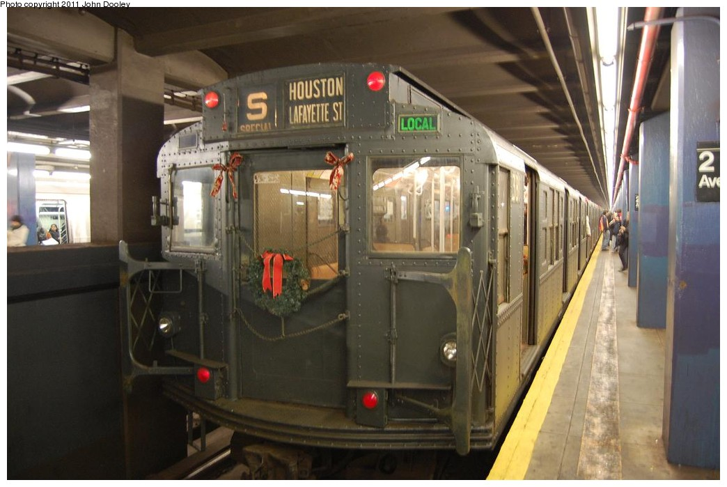 (193k, 1044x699)<br><b>Country:</b> United States<br><b>City:</b> New York<br><b>System:</b> New York City Transit<br><b>Line:</b> IND 6th Avenue Line<br><b>Location:</b> 2nd Avenue <br><b>Route:</b> Museum Train Service<br><b>Car:</b> R-1 (American Car & Foundry, 1930-1931) 381 <br><b>Photo by:</b> John Dooley<br><b>Date:</b> 12/26/2010<br><b>Viewed (this week/total):</b> 7 / 385