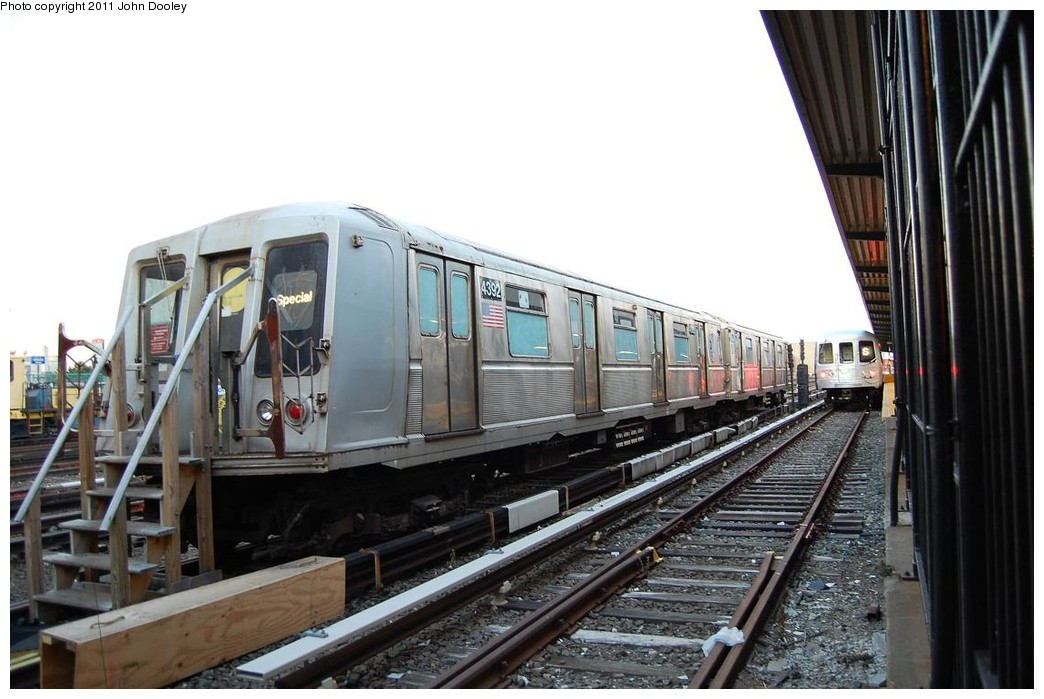 (208k, 1044x699)<br><b>Country:</b> United States<br><b>City:</b> New York<br><b>System:</b> New York City Transit<br><b>Location:</b> Rockaway Park Yard<br><b>Car:</b> R-40 (St. Louis, 1968)  4392 <br><b>Photo by:</b> John Dooley<br><b>Date:</b> 12/17/2010<br><b>Notes:</b> School car<br><b>Viewed (this week/total):</b> 7 / 1035