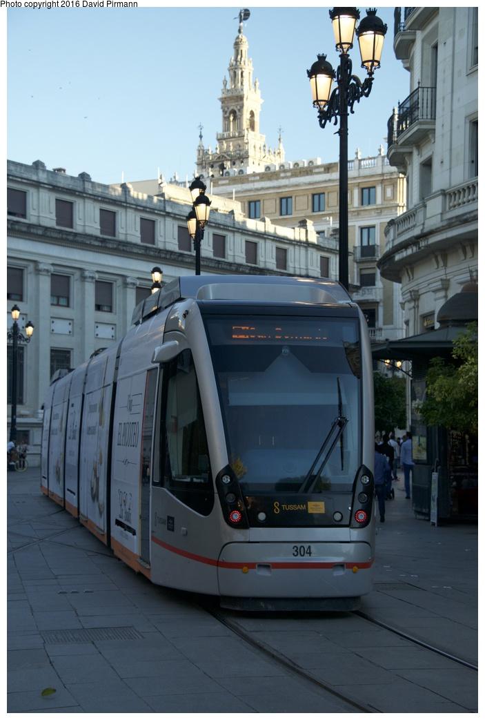 (220k, 703x1043)<br><b>Country:</b> Spain<br><b>City:</b> Seville<br><b>System:</b> Tranvía MetroCentro <br><b>Location:</b> <b>Plaza Nueva</b> <br><b>Car:</b> CAF Urbos 3  304 <br><b>Photo by:</b> David Pirmann<br><b>Date:</b> 11/7/2015<br><b>Viewed (this week/total):</b> 3 / 307
