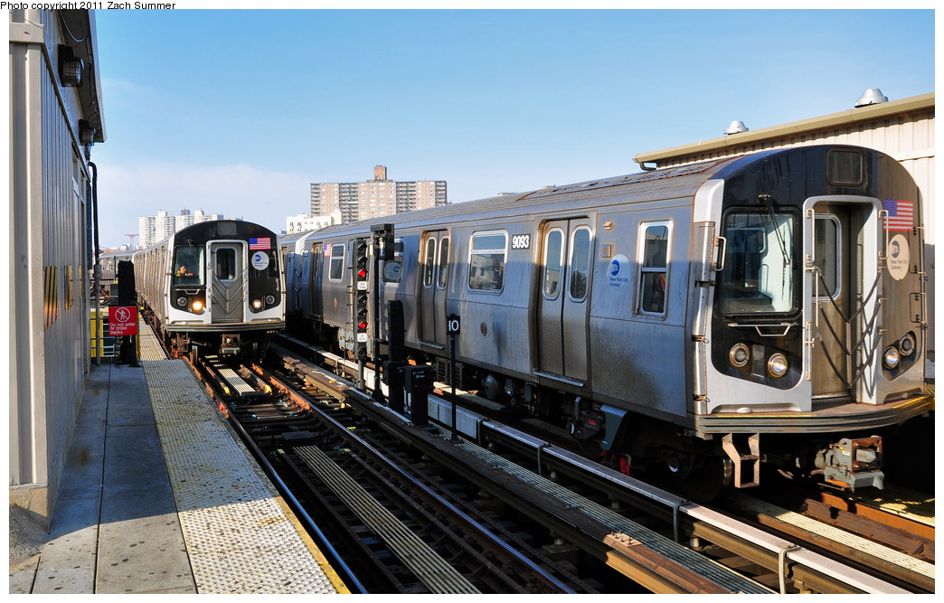(277k, 1044x667)<br><b>Country:</b> United States<br><b>City:</b> New York<br><b>System:</b> New York City Transit<br><b>Line:</b> BMT Brighton Line<br><b>Location:</b> Brighton Beach <br><b>Car:</b> R-160B (Option 1) (Kawasaki, 2008-2009)  9093 <br><b>Photo by:</b> Zach Summer<br><b>Date:</b> 1/1/2011<br><b>Notes:</b> With R160B 8757 pulling into Brighton Beach simultaneously<br><b>Viewed (this week/total):</b> 1 / 632