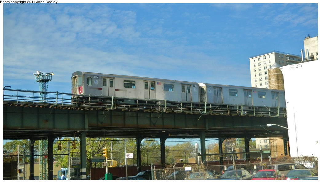 (188k, 1044x596)<br><b>Country:</b> United States<br><b>City:</b> New York<br><b>System:</b> New York City Transit<br><b>Line:</b> IRT Woodlawn Line<br><b>Location:</b> Bedford Park Boulevard <br><b>Route:</b> 4<br><b>Car:</b> R-142 (Option Order, Bombardier, 2002-2003)  7100 <br><b>Photo by:</b> John Dooley<br><b>Date:</b> 10/29/2010<br><b>Viewed (this week/total):</b> 0 / 818