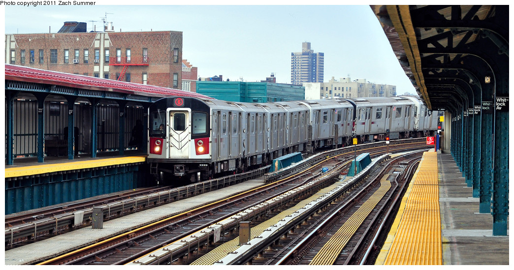 (285k, 1044x549)<br><b>Country:</b> United States<br><b>City:</b> New York<br><b>System:</b> New York City Transit<br><b>Line:</b> IRT Pelham Line<br><b>Location:</b> Whitlock Avenue <br><b>Route:</b> 6<br><b>Car:</b> R-142A (Primary Order, Kawasaki, 1999-2002)  7350 <br><b>Photo by:</b> Zach Summer<br><b>Date:</b> 1/2/2011<br><b>Viewed (this week/total):</b> 6 / 1133