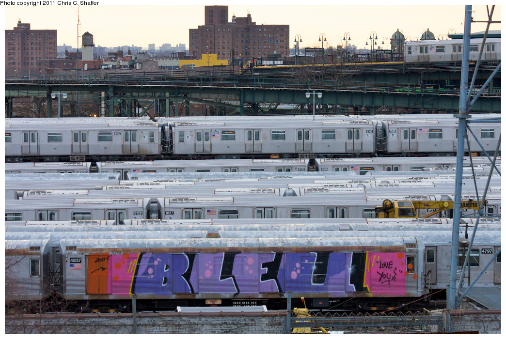 (302k, 1044x700)<br><b>Country:</b> United States<br><b>City:</b> New York<br><b>System:</b> New York City Transit<br><b>Location:</b> East New York Yard/Shops<br><b>Car:</b> R-42 (St. Louis, 1969-1970)  4837 <br><b>Photo by:</b> Chris C. Shaffer<br><b>Date:</b> 1/20/2011<br><b>Notes:</b> Tagged car laid up in ENY Yard<br><b>Viewed (this week/total):</b> 2 / 2089