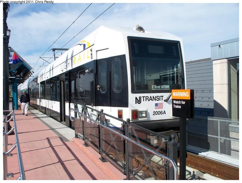 (161k, 820x620)<br><b>Country:</b> United States<br><b>City:</b> Jersey City, NJ<br><b>System:</b> Hudson Bergen Light Rail<br><b>Location:</b> Bayonne 8th Street <br><b>Car:</b> NJT-HBLR LRV (Kinki-Sharyo, 1998-99)  2006 <br><b>Photo by:</b> Chris Reidy<br><b>Date:</b> 2/9/2011<br><b>Viewed (this week/total):</b> 0 / 407