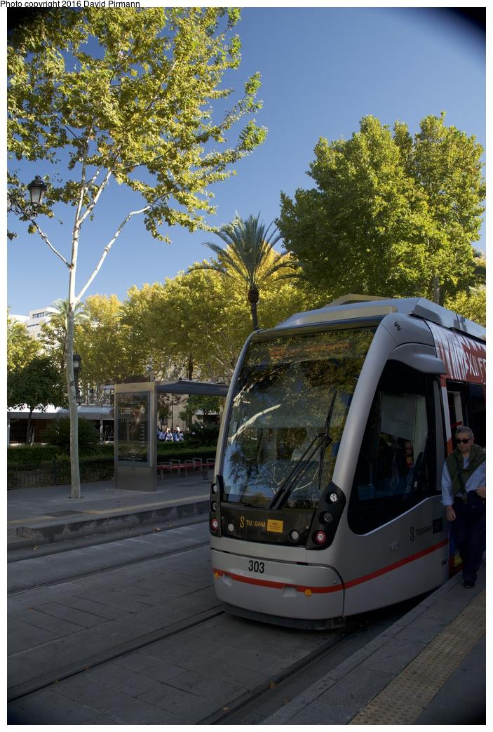 (328k, 703x1043)<br><b>Country:</b> Spain<br><b>City:</b> Seville<br><b>System:</b> Tranvía MetroCentro <br><b>Location:</b> <b>Plaza Nueva</b> <br><b>Car:</b> CAF Urbos 3  303 <br><b>Photo by:</b> David Pirmann<br><b>Date:</b> 11/9/2015<br><b>Viewed (this week/total):</b> 6 / 273