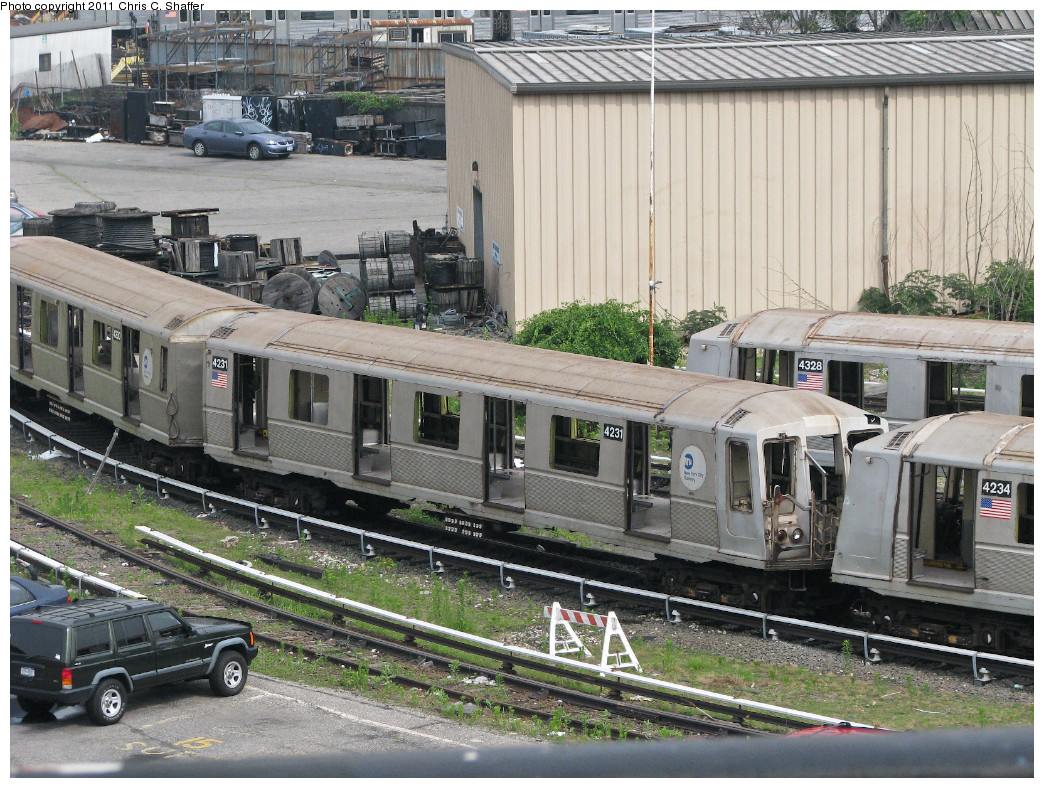 (346k, 1044x788)<br><b>Country:</b> United States<br><b>City:</b> New York<br><b>System:</b> New York City Transit<br><b>Location:</b> 207th Street Yard<br><b>Car:</b> R-40 (St. Louis, 1968)  4230/4231/4234/4328 <br><b>Photo by:</b> Chris C. Shaffer<br><b>Date:</b> 6/23/2008<br><b>Notes:</b> R40 Slants to be reefed<br><b>Viewed (this week/total):</b> 2 / 353