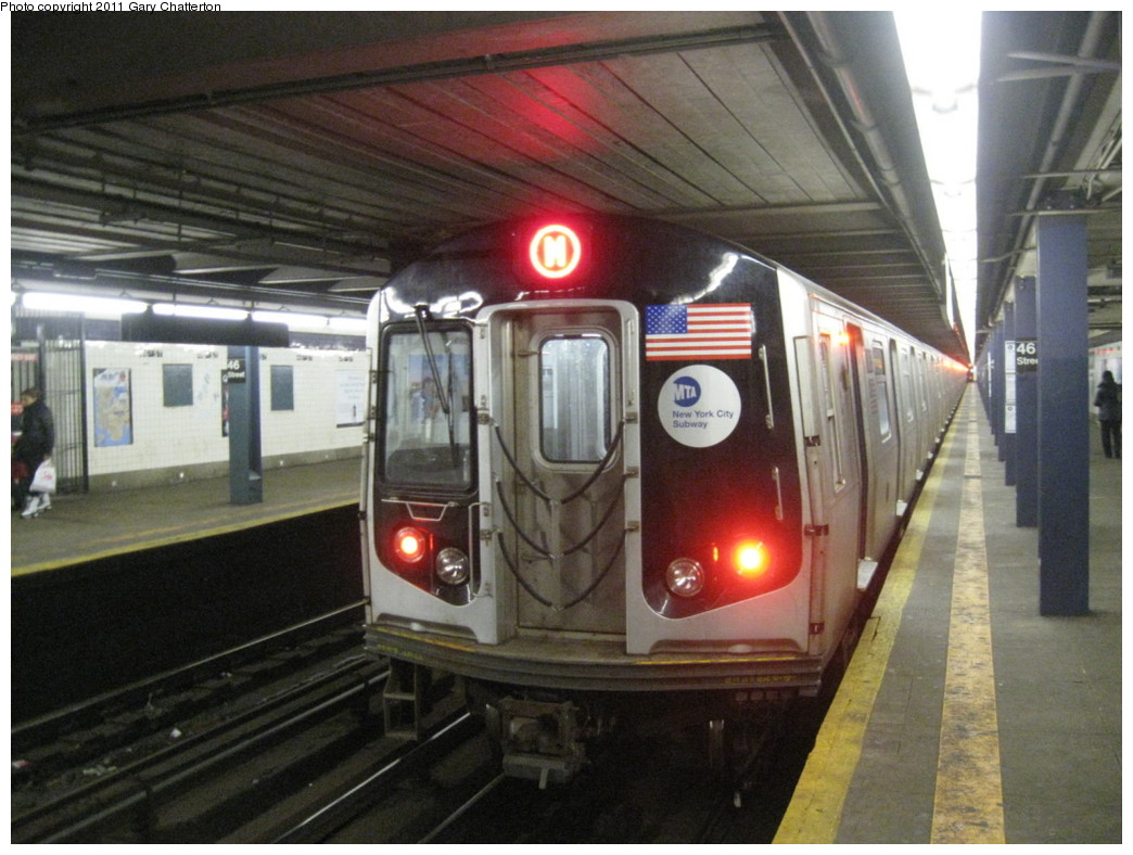 (207k, 1044x788)<br><b>Country:</b> United States<br><b>City:</b> New York<br><b>System:</b> New York City Transit<br><b>Line:</b> IND Queens Boulevard Line<br><b>Location:</b> 46th Street <br><b>Route:</b> M<br><b>Car:</b> R-160A-1 (Alstom, 2005-2008, 4 car sets)  8465 <br><b>Photo by:</b> Gary Chatterton<br><b>Date:</b> 1/31/2011<br><b>Viewed (this week/total):</b> 4 / 1055