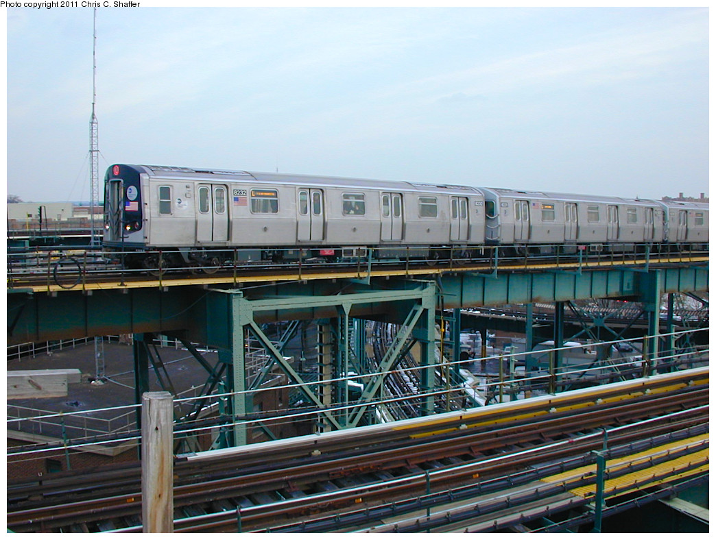 (283k, 1044x788)<br><b>Country:</b> United States<br><b>City:</b> New York<br><b>System:</b> New York City Transit<br><b>Line:</b> BMT Canarsie Line<br><b>Location:</b> Broadway Junction <br><b>Route:</b> L<br><b>Car:</b> R-143 (Kawasaki, 2001-2002) 8230 <br><b>Photo by:</b> Chris C. Shaffer<br><b>Date:</b> 12/8/2002<br><b>Viewed (this week/total):</b> 0 / 633