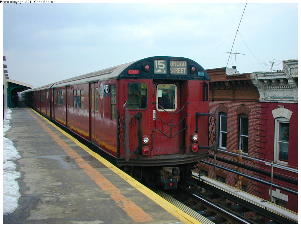 (234k, 1044x787)<br><b>Country:</b> United States<br><b>City:</b> New York<br><b>System:</b> New York City Transit<br><b>Line:</b> BMT Nassau Street/Jamaica Line<br><b>Location:</b> Crescent Street <br><b>Route:</b> Fan Trip<br><b>Car:</b> R-33 World's Fair (St. Louis, 1963-64) 9331 <br><b>Photo by:</b> Chris C. Shaffer<br><b>Date:</b> 12/8/2002<br><b>Viewed (this week/total):</b> 2 / 662