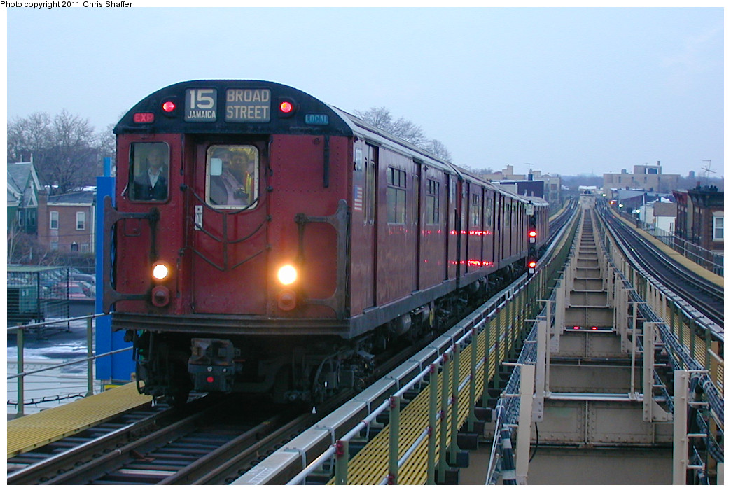 (239k, 1044x703)<br><b>Country:</b> United States<br><b>City:</b> New York<br><b>System:</b> New York City Transit<br><b>Line:</b> BMT Nassau Street/Jamaica Line<br><b>Location:</b> Alabama Avenue <br><b>Route:</b> Fan Trip<br><b>Car:</b> R-33 World's Fair (St. Louis, 1963-64) 9331 <br><b>Photo by:</b> Chris C. Shaffer<br><b>Date:</b> 12/8/2002<br><b>Viewed (this week/total):</b> 0 / 612