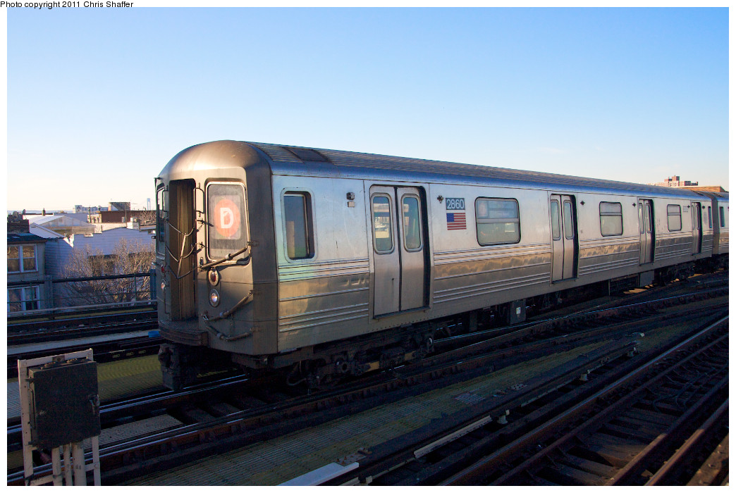 (229k, 1044x700)<br><b>Country:</b> United States<br><b>City:</b> New York<br><b>System:</b> New York City Transit<br><b>Location:</b> Coney Island/Stillwell Avenue<br><b>Route:</b> D<br><b>Car:</b> R-68 (Westinghouse-Amrail, 1986-1988)  2860 <br><b>Photo by:</b> Chris C. Shaffer<br><b>Date:</b> 2/11/2011<br><b>Viewed (this week/total):</b> 6 / 568