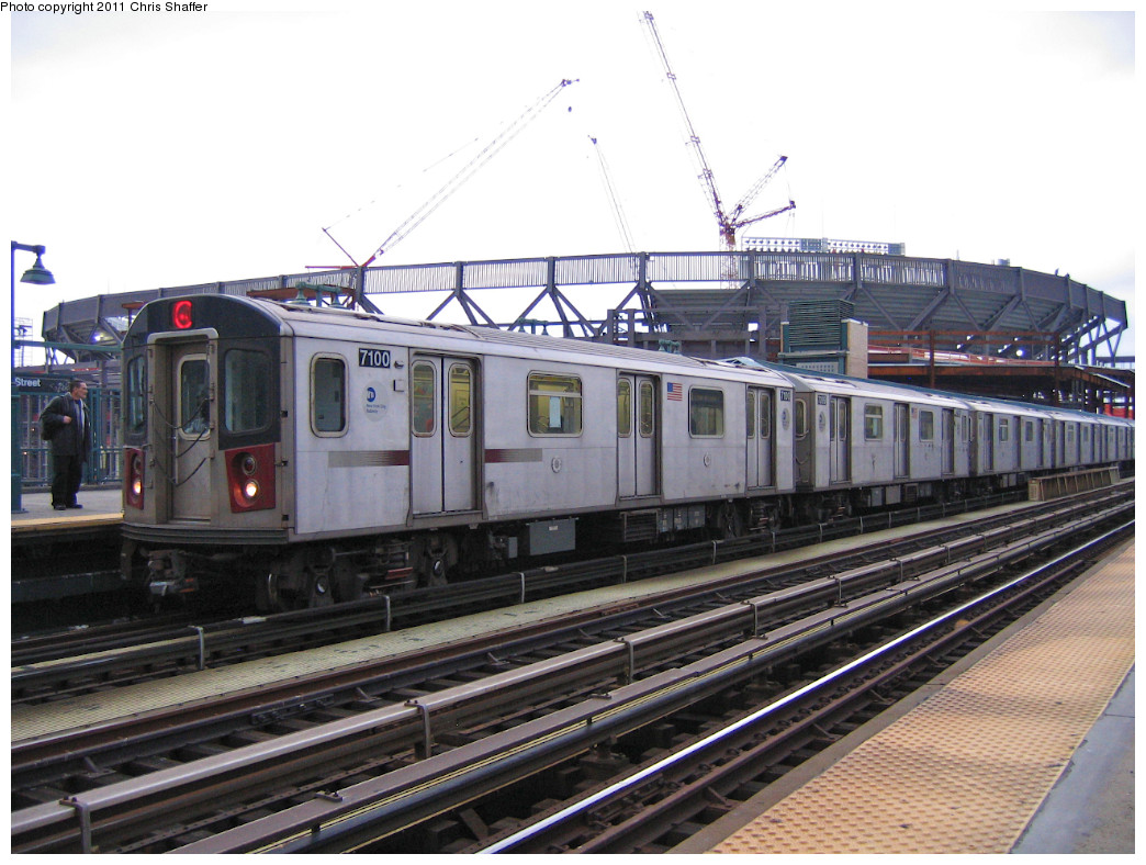 (255k, 1044x788)<br><b>Country:</b> United States<br><b>City:</b> New York<br><b>System:</b> New York City Transit<br><b>Line:</b> IRT Woodlawn Line<br><b>Location:</b> 161st Street/River Avenue (Yankee Stadium) <br><b>Route:</b> 4<br><b>Car:</b> R-142 (Option Order, Bombardier, 2002-2003)  7100 <br><b>Photo by:</b> Chris C. Shaffer<br><b>Date:</b> 1/15/2008<br><b>Viewed (this week/total):</b> 0 / 306