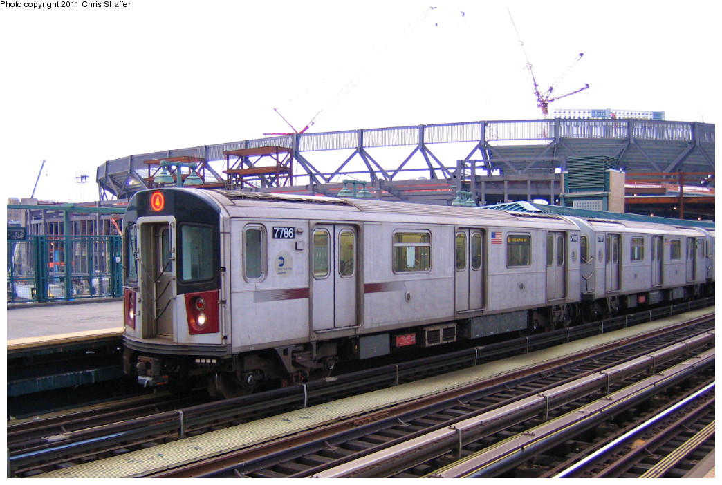 (244k, 1044x702)<br><b>Country:</b> United States<br><b>City:</b> New York<br><b>System:</b> New York City Transit<br><b>Line:</b> IRT Woodlawn Line<br><b>Location:</b> 161st Street/River Avenue (Yankee Stadium) <br><b>Route:</b> 4<br><b>Car:</b> R-142A (Supplemental Order, Kawasaki, 2003-2004)  7786 <br><b>Photo by:</b> Chris C. Shaffer<br><b>Date:</b> 1/15/2008<br><b>Viewed (this week/total):</b> 1 / 889