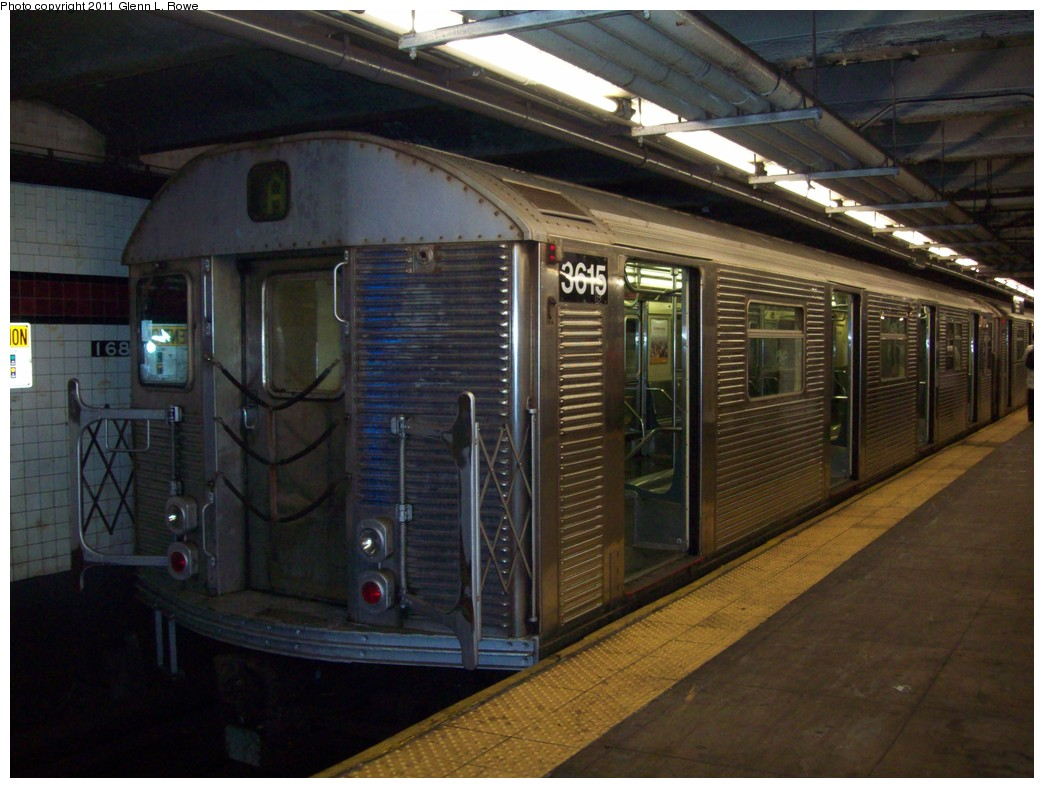 (203k, 1044x788)<br><b>Country:</b> United States<br><b>City:</b> New York<br><b>System:</b> New York City Transit<br><b>Line:</b> IND 8th Avenue Line<br><b>Location:</b> 207th Street <br><b>Route:</b> A<br><b>Car:</b> R-32 (Budd, 1964)  3615 <br><b>Photo by:</b> Glenn L. Rowe<br><b>Date:</b> 3/16/2011<br><b>Viewed (this week/total):</b> 0 / 529