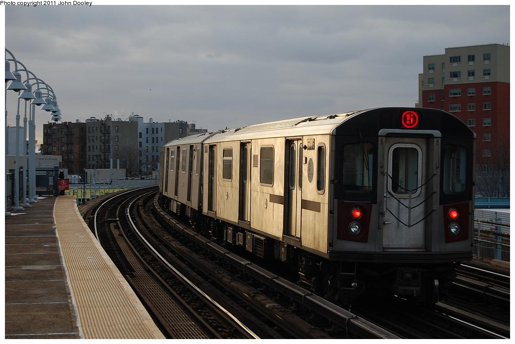 (197k, 1044x699)<br><b>Country:</b> United States<br><b>City:</b> New York<br><b>System:</b> New York City Transit<br><b>Line:</b> IRT White Plains Road Line<br><b>Location:</b> West Farms Sq./East Tremont Ave./177th St. <br><b>Route:</b> 5<br><b>Car:</b> R-142 (Primary Order, Bombardier, 1999-2002)  6706 <br><b>Photo by:</b> John Dooley<br><b>Date:</b> 12/14/2010<br><b>Viewed (this week/total):</b> 14 / 676