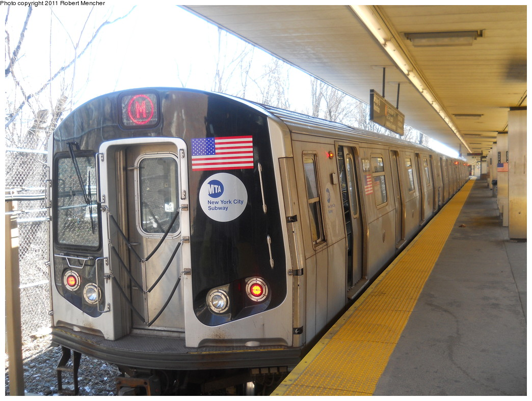 (287k, 1044x788)<br><b>Country:</b> United States<br><b>City:</b> New York<br><b>System:</b> New York City Transit<br><b>Line:</b> BMT Myrtle Avenue Line<br><b>Location:</b> Metropolitan Avenue <br><b>Route:</b> M<br><b>Car:</b> R-160A-1 (Alstom, 2005-2008, 4 car sets)  8404 <br><b>Photo by:</b> Robert Mencher<br><b>Date:</b> 3/26/2011<br><b>Viewed (this week/total):</b> 0 / 1007