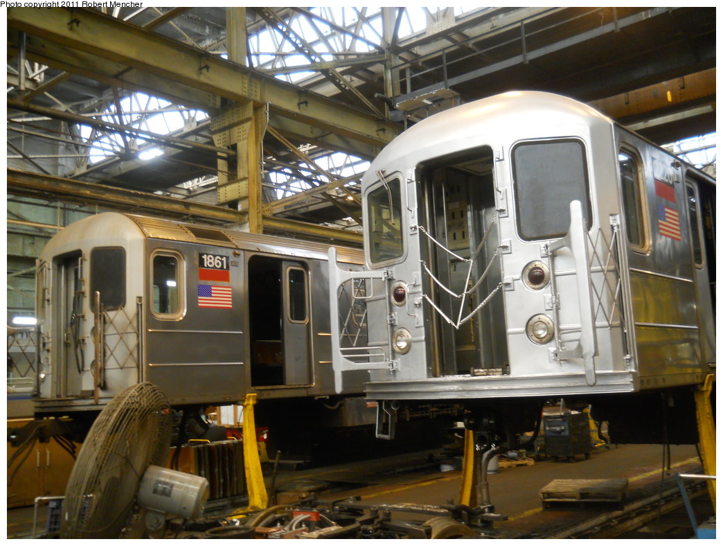 (289k, 1044x788)<br><b>Country:</b> United States<br><b>City:</b> New York<br><b>System:</b> New York City Transit<br><b>Location:</b> 207th Street Shop<br><b>Car:</b> R-62A (Bombardier, 1984-1987)  1861 <br><b>Photo by:</b> Robert Mencher<br><b>Date:</b> 3/27/2011<br><b>Viewed (this week/total):</b> 0 / 361