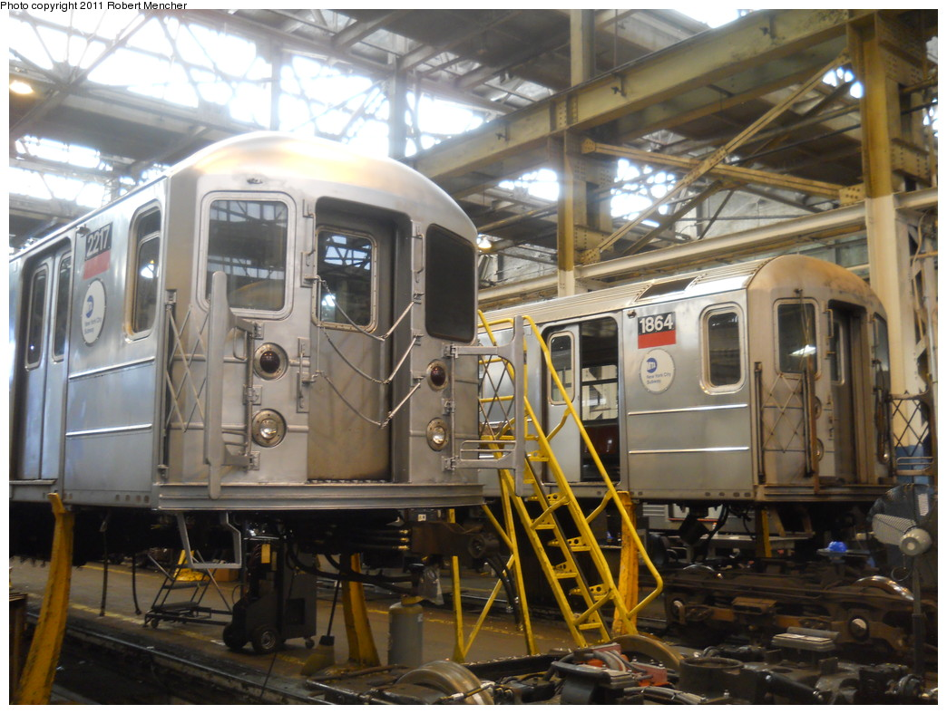 (287k, 1044x788)<br><b>Country:</b> United States<br><b>City:</b> New York<br><b>System:</b> New York City Transit<br><b>Location:</b> 207th Street Shop<br><b>Car:</b> R-62A (Bombardier, 1984-1987)  2217/1864 <br><b>Photo by:</b> Robert Mencher<br><b>Date:</b> 3/27/2011<br><b>Viewed (this week/total):</b> 8 / 345
