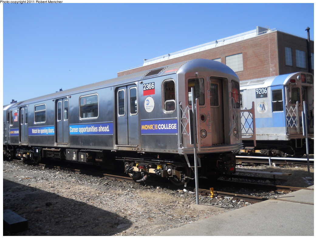 (285k, 1044x788)<br><b>Country:</b> United States<br><b>City:</b> New York<br><b>System:</b> New York City Transit<br><b>Location:</b> 207th Street Yard<br><b>Car:</b> R-62A (Bombardier, 1984-1987)  2366 <br><b>Photo by:</b> Robert Mencher<br><b>Date:</b> 3/27/2011<br><b>Viewed (this week/total):</b> 0 / 512