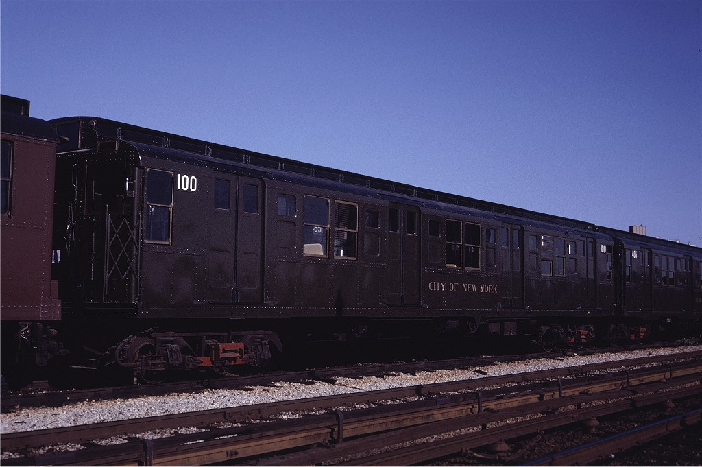 (166k, 1024x681)<br><b>Country:</b> United States<br><b>City:</b> New York<br><b>System:</b> New York City Transit<br><b>Location:</b> Coney Island Yard<br><b>Car:</b> R-1 (American Car & Foundry, 1930-1931) 100 <br><b>Photo by:</b> Steve Zabel<br><b>Collection of:</b> Joe Testagrose<br><b>Date:</b> 5/22/1971<br><b>Viewed (this week/total):</b> 2 / 272