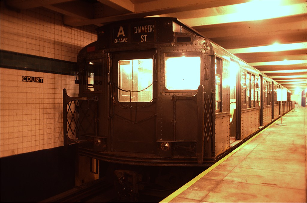 (154k, 1024x680)<br><b>Country:</b> United States<br><b>City:</b> New York<br><b>System:</b> New York City Transit<br><b>Location:</b> New York Transit Museum<br><b>Car:</b> R-1 (American Car & Foundry, 1930-1931) 100 <br><b>Photo by:</b> Doug Grotjahn<br><b>Collection of:</b> Joe Testagrose<br><b>Date:</b> 8/14/1976<br><b>Viewed (this week/total):</b> 0 / 645