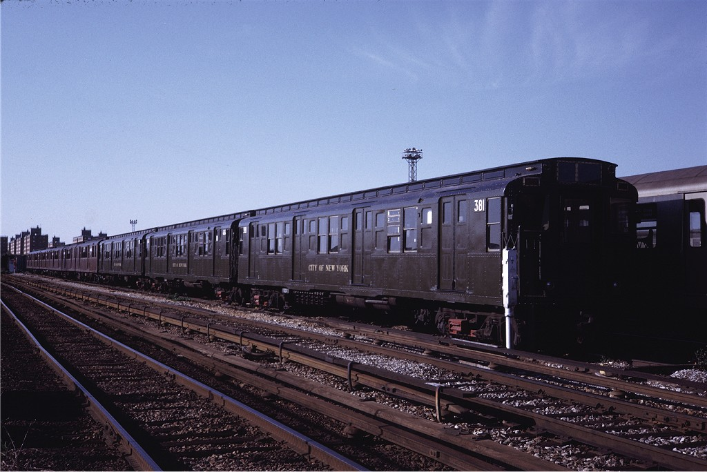 (188k, 1024x684)<br><b>Country:</b> United States<br><b>City:</b> New York<br><b>System:</b> New York City Transit<br><b>Location:</b> Coney Island Yard<br><b>Car:</b> R-1 (American Car & Foundry, 1930-1931) 381 <br><b>Photo by:</b> Steve Zabel<br><b>Collection of:</b> Joe Testagrose<br><b>Date:</b> 5/22/1971<br><b>Viewed (this week/total):</b> 2 / 406