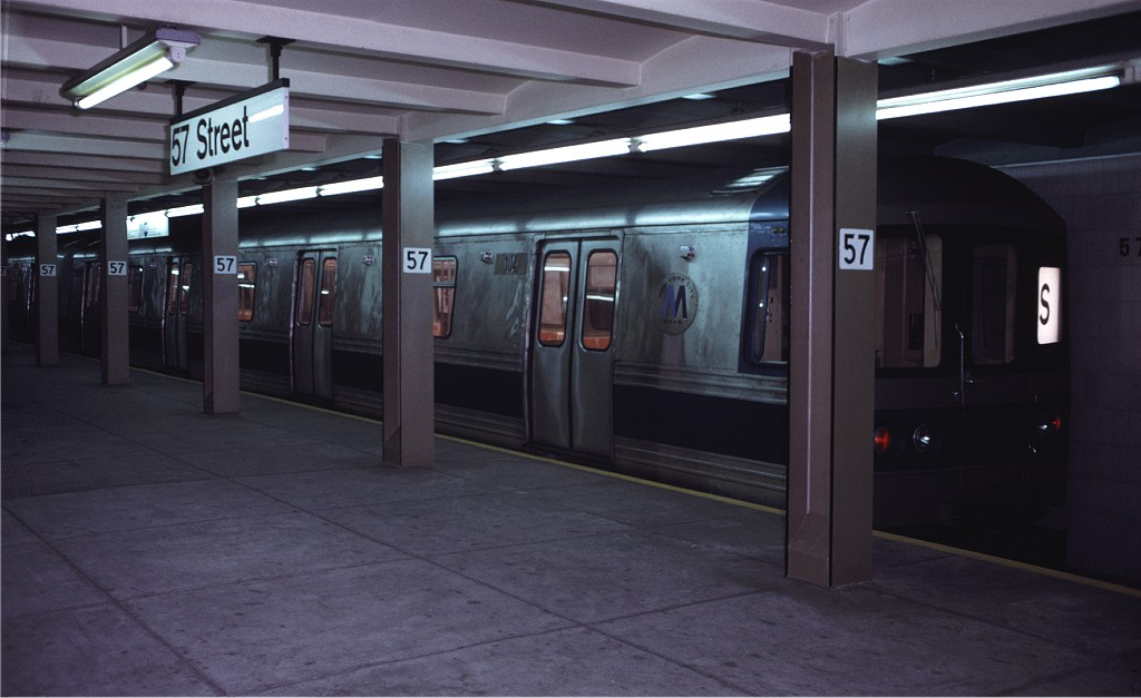 (131k, 1024x627)<br><b>Country:</b> United States<br><b>City:</b> New York<br><b>System:</b> New York City Transit<br><b>Line:</b> IND 6th Avenue Line<br><b>Location:</b> 57th Street <br><b>Route:</b> S<br><b>Car:</b> R-44 (St. Louis, 1971-73) 104 <br><b>Photo by:</b> Doug Grotjahn<br><b>Collection of:</b> Joe Testagrose<br><b>Date:</b> 5/5/1972<br><b>Viewed (this week/total):</b> 3 / 1408