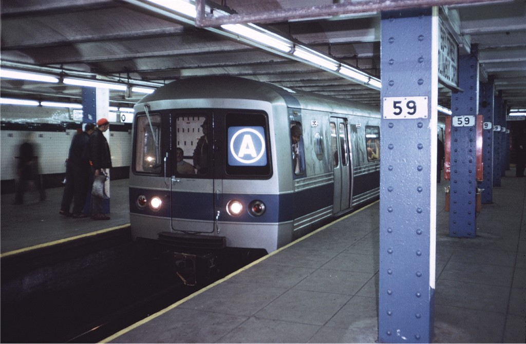 (151k, 1024x670)<br><b>Country:</b> United States<br><b>City:</b> New York<br><b>System:</b> New York City Transit<br><b>Line:</b> IND 8th Avenue Line<br><b>Location:</b> 59th Street/Columbus Circle <br><b>Route:</b> A<br><b>Car:</b> R-44 (St. Louis, 1971-73) 112 <br><b>Photo by:</b> Doug Grotjahn<br><b>Collection of:</b> Joe Testagrose<br><b>Date:</b> 1/27/1972<br><b>Viewed (this week/total):</b> 0 / 1427